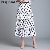 skirt Spring 2021 M L XL 2XL 3XL 4XL Black and white dots Mid length dress commute High waist Cake skirt Dot Type A 25-29 years old According to shallow case printing Korean version Pure e-commerce (online only)