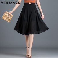 skirt Spring 2021 M L XL 2XL 3XL 4XL black Mid length dress commute High waist A-line skirt Solid color Type A 25-29 years old YQGA10362 Chiffon According to shallow case zipper Korean version Pure e-commerce (online only)
