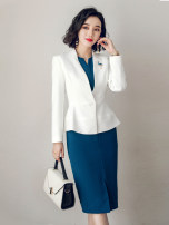Professional dress suit S,M,L,XL,XXL,XXXL White, blue, suit + dress Autumn of 2018 Long sleeves C226+Q235 Jacket, other styles Suit skirt 25-35 years old AI Shangchen 96% and above polyester fiber