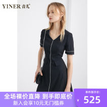 Dress Summer 2020 black 155/36/S 160/38/M 165/40/L 170/42/XL 175/44/XXL 180/46/XXXL Middle-skirt singleton  Short sleeve commute V-neck Socket A-line skirt routine 30-34 years old Type X Sound Ol style 8C50205660 More than 95% polyester fiber Pure e-commerce (online only)
