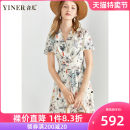 Dress Summer 2020 Apricot 36 38 40 42 44 46 Mid length dress singleton  Short sleeve commute V-neck Broken flowers Socket Big swing routine 30-34 years old Type X Sound Ol style 8C50205337 More than 95% polyester fiber Polyester 100% Pure e-commerce (online only)