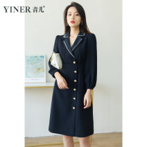 Dress Spring 2021 Tibetan blue 36 38 40 42 44 46 Middle-skirt singleton  Nine point sleeve commute tailored collar middle-waisted Single breasted A-line skirt routine 30-34 years old Type X Sound Ol style 3D 8C41105025 More than 95% polyester fiber Polyester 100% Pure e-commerce (online only)