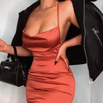 Dress Summer 2020 Red, green, black, orange, pink pink pink, brown, coral red, light pink S,M,L Mid length dress singleton  High waist Solid color zipper A-line skirt D8C0627