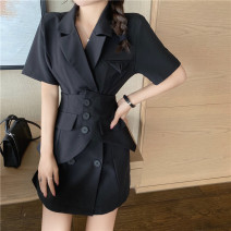 Dress Summer 2021 Black, pink M, L Short skirt singleton  Short sleeve commute tailored collar High waist Solid color Single breasted A-line skirt routine Others Type A Other / other Korean version More than 95% other other