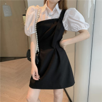 Dress Summer 2021 Shirt + one shoulder dress S. M, one size shirt Short skirt singleton  Short sleeve commute One word collar High waist Solid color Socket A-line skirt other camisole Type X More than 95% other other