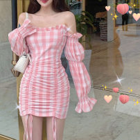 Dress Summer 2021 Pink S,M,L Short skirt singleton  Long sleeves commute One word collar High waist lattice other other other Others Type H Korean version More than 95% other other