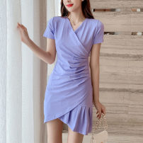Dress Summer 2021 Gray, violet, black S,M,L,XL Middle-skirt singleton  Short sleeve commute V-neck High waist Solid color Socket A-line skirt routine Others Type A Korean version More than 95% other other
