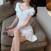 Dress Summer 2021 white S,M,L Short skirt singleton  Short sleeve commute V-neck High waist Socket One pace skirt other Others Type A Korean version More than 95% other other