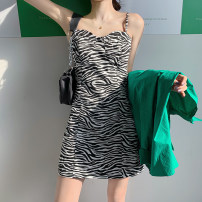 Dress Summer 2021 S. M, average size Short skirt singleton  Sleeveless commute square neck High waist Zebra pattern Socket A-line skirt other camisole Type X Korean version More than 95% other other