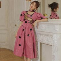 Dress Summer 2021 Pink XS,S,M,L Mid length dress singleton  Short sleeve commute Crew neck High waist Dot Socket Big swing puff sleeve Others Type X Korean version More than 95% other other