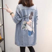 Women's large Autumn 2020 Picture color XL [100-120 kg], 2XL [120-145 kg], 3XL [145-175 kg], 4XL [175-190 kg], 5XL [195-210 kg] Jacket / jacket singleton  commute easy moderate Cardigan Long sleeves Cartoon animation Korean version Polo collar Medium length Denim printing and dyeing Fushun