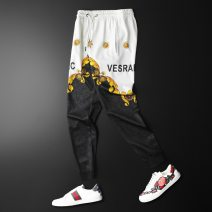 Casual pants Versace solid Youth fashion black M,L,XL,3XL,4XL,5XL,XXL routine Ninth pants Travel? Straight cylinder Micro bomb Versace casual pants summer teenagers like a breath of fresh air 2021 middle-waisted Straight cylinder Sports pants Broken flowers other cotton