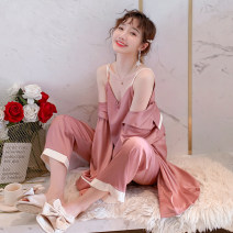 Pajamas / housewear set female Jikou M (for breast pad) l (for breast pad) XL (for breast pad) Bean paste four piece set [sling + shorts + trousers + skirt] Polyester (polyester) Long sleeves Sweet pajamas spring Thin money Small lapel Solid color trousers Front buckle youth 2 pieces rubber string