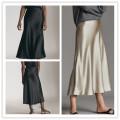 skirt Summer 2021 S,M,L Mid length dress Versatile High waist A-line skirt Solid color Type A other TRAF