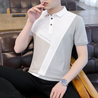 Polo shirt Amasin Youth fashion thin M L XL XXL 3XL Self cultivation Other leisure summer Short sleeve tide routine youth Cotton 95% polyurethane elastic fiber (spandex) 5% Color block cotton No iron treatment printing Spring 2021 Pure e-commerce (online only) 90% (inclusive) - 95% (inclusive)