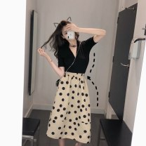 Fashion suit Summer 2021 S M L XL Top + polka dot skirt 18-25 years old Suozhen 31% (inclusive) - 50% (inclusive) polyester fiber Other 100% Pure e-commerce (online only)