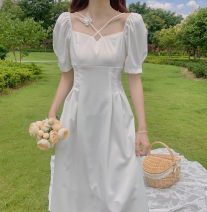 Dress Summer 2020 white S M L XL longuette singleton  Short sleeve commute square neck High waist Solid color Socket A-line skirt puff sleeve Others 18-24 years old Type A Suozhen lady Butterfly stitching MLR-20t3387 More than 95% Chiffon other Other 100% Pure e-commerce (online only)