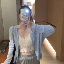 Wool knitwear Spring 2021 S M L XL Blue cardigan white cardigan white sling Long sleeves singleton  Cardigan other More than 95% Regular Thin money commute easy V-neck routine Solid color Single breasted Korean version 5673# 18-24 years old Suozhen Other 100% Pure e-commerce (online only)