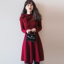 Dress Autumn 2020 Red, black XS,S,M,L,XL singleton  Long sleeves commute middle-waisted Solid color Socket Ruffle Skirt routine Type A Other Korean version bow knitting