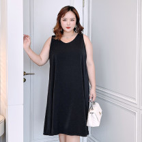 Women's large Summer 2021 Black [spot], black [payment 10-15 days delivery] F (145-170), 2f (170-195), 3f (195-220), 4f (220-250), 5F (250-280) Dress singleton  commute easy thin Socket Sleeveless Solid color Korean version V-neck polyester Three dimensional cutting 6-23010 Sweet search 96% and above