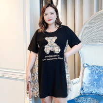 Women's large Summer 2021 Black [spot], black [payment 10-15 days delivery] F (145-170), 2f (170-195), 3f (195-220), 4f (220-250), 5F (250-280) Dress singleton  commute easy thin Socket Short sleeve Cartoon, box, letter Korean version Crew neck Three dimensional cutting routine 6-21255 Sweet search