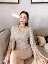 Dress Winter 2020 Apricot S,M,L Short skirt singleton  Long sleeves commute V-neck middle-waisted Solid color Socket One pace skirt routine Others 25-29 years old Type X Korean version Sequins 30% and below other polyester fiber