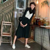 Dress Autumn of 2019 S,M,L,XL Mid length dress Two piece set Long sleeves commute Crew neck High waist Solid color Socket A-line skirt routine Others 18-24 years old Korean version 71% (inclusive) - 80% (inclusive) polyester fiber
