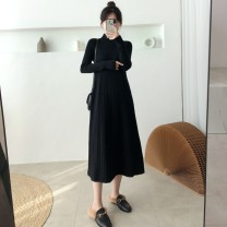 Dress Winter of 2019 Green, black S,M,L,XL Mid length dress singleton  Long sleeves commute Half high collar High waist Solid color Socket A-line skirt routine Others 25-29 years old Type A Other / other Korean version knitting