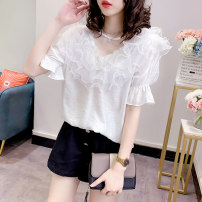 shirt Pink white Average size Summer 2020 polyester fiber 96% and above Short sleeve commute Regular Crew neck Socket Bat sleeve Solid color 25-29 years old Straight cylinder Rutherford Korean version Auricularia auricula Polyester 100% Pure e-commerce (online only)