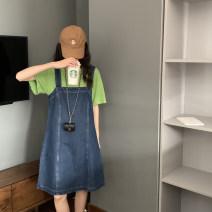 Dress Summer 2021 Dark blue, light blue M, L Mid length dress singleton  Sleeveless commute High waist A-line skirt routine Others Type A 81% (inclusive) - 90% (inclusive) Denim cotton