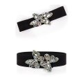 Belt / belt / chain Pu (artificial leather) black female Waistband grace Single loop Young and middle aged a hook Diamond inlay Glossy surface 6cm alloy Bare bowknot beaded lace elastic flower Komisa 1cm Spring and summer 2011