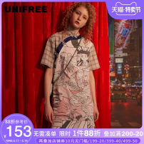 Dress Summer of 2019 Khaki - spot Khaki - pre sale S M L Middle-skirt singleton  Short sleeve street stand collar Loose waist other Three buttons other routine Others 18-24 years old Type H UNIFREE printing UHY192I001 More than 95% polyester fiber Europe and America