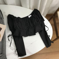 shirt black Average size Spring 2021 cotton 30% and below Long sleeves commute Regular One word collar Socket routine Solid color 18-24 years old Straight cylinder Korean version cotton