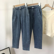 Jeans Spring 2021 blue S,M,L trousers High waist Straight pants routine 18-24 years old other Dark color SS110625 30% and below