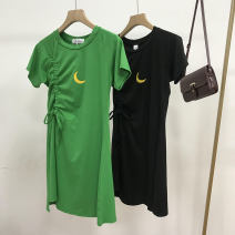 Dress Spring 2021 Black 2, green 1 Average size longuette singleton  Long sleeves commute Crew neck middle-waisted Solid color Socket One pace skirt routine 18-24 years old Korean version SH311584 30% and below other cotton