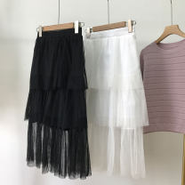 skirt Spring 2021 S, M Black, white longuette commute High waist Cake skirt Solid color Type A 18-24 years old SS110951 30% and below Lace lady