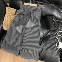 Casual pants Black 2, blue 1 S,M,L Spring 2021 trousers Straight pants High waist commute routine 18-24 years old 30% and below SS111391 cotton Korean version cotton