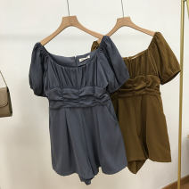 Dress Spring 2021 Gray 2, Brown 1 S, M Mid length dress singleton  Short sleeve commute One word collar middle-waisted Solid color Socket One pace skirt routine 18-24 years old Korean version SS111184 30% and below other cotton