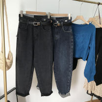 Jeans Spring 2021 Gray 2, blue gray 1 S, M trousers High waist Straight pants 18-24 years old other light colour SH310520 30% and below