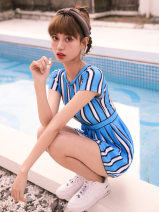 one piece  Tailor made M,L,XL Main graph color Skirt one piece Steel strap breast pad Nylon, spandex, others CJ04052023 female Sleeveless Casual swimsuit Solid color backless