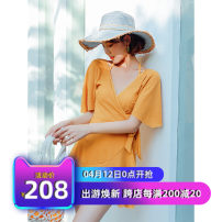 one piece  Tailor made M,L,XL,XXL,XXXL Skirt one piece Steel strap breast pad Spandex, polyester, others female Short sleeve Casual swimsuit Solid color Lotus leaf edge