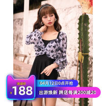 one piece  Tailor made M,L,XL black Skirt one piece With chest pad without steel support Polyester, nylon, others, spandex CJ04042241 female Long sleeves Casual swimsuit Other, solid Bright silk