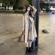 Windbreaker Autumn 2020 S M L XL Long windbreaker short windbreaker floral skirt Long sleeves routine Medium length commute double-breasted tailored collar routine Solid color High waist type Korean version Gerberf 18-24 years old Button 96% and above polyester fiber polyester fiber Polyester 100%