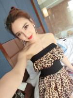 Dress Spring of 2019 Black, fcwfzocqqa, leopard print S, M Short skirt singleton  commute