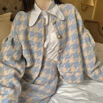 Fashion suit Autumn 2020 XS,S,M,L Blue Plaid suit, coat, skirt, three piece chigger suit 18-25 years old Designer uncle F073126