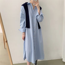 shirt Blue, white S,XL,L,M Spring 2021 cotton 96% and above Long sleeves commute Medium length Polo collar Single row multi button routine Solid color 18-24 years old Straight cylinder Korean version Splicing cotton