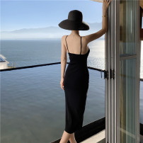 Dress Summer 2021 black S M L longuette singleton  Sleeveless commute V-neck High waist Solid color other other other camisole 25-29 years old Type H Huan Ting Korean version Embroidery More than 95% knitting other Other 100% Pure e-commerce (online only)