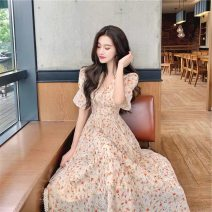 Dress Summer 2021 Picture color S M L XL longuette singleton  Short sleeve commute V-neck High waist Broken flowers Socket A-line skirt 18-24 years old Huan Ting Retro More than 95% other Other 100% Pure e-commerce (online only)