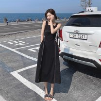 Dress Summer 2021 White black S M L XL longuette singleton  Sleeveless commute square neck High waist Solid color Socket A-line skirt routine straps 18-24 years old Type A Huan Ting Retro backless HT65324 More than 95% other other Other 100% Pure e-commerce (online only)