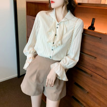 shirt Apricot S M L XL Spring 2021 other 96% and above Long sleeves commute Regular Polo collar Single row multi button routine Solid color 25-29 years old Self cultivation Isuooemae / ashuma Korean version 1393GM Button Other 100% Pure e-commerce (online only) Chiffon